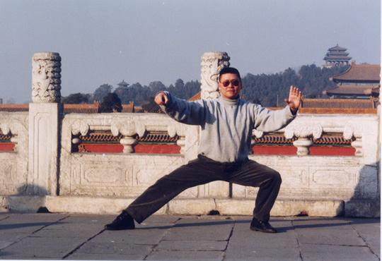 Lama Dondrup Dorje demonstrating Chen Style taiji on the Great Wall of China