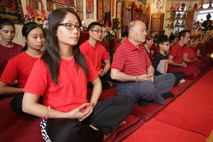 Students practice meditation during the Pathgate Summer School