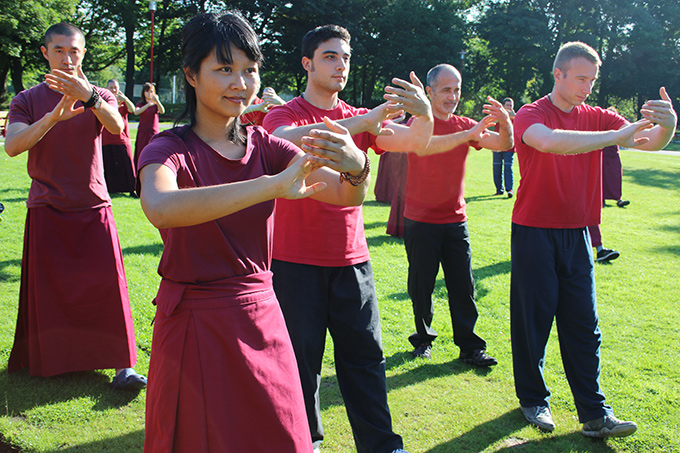 Retreatants practice Classical Chan Ding Taijiquan in the park